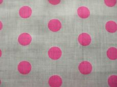 White with 20mm Cerise Spot Polyotton Fabric
